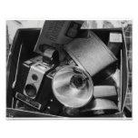 Black & White Photo of a Box of Cameras