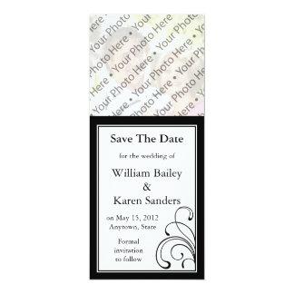 "Black & White Photo Save the Date Announcement 4"" X 9.25"" Invitation Card"