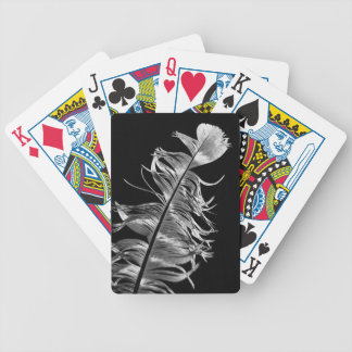 Black & White Photographic Feather Art Bicycle Playing Cards