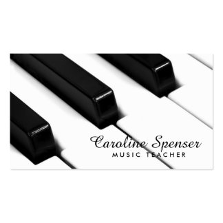 Black & White Piano Keys Music Teacher Card Double-Sided Standard Business Cards (Pack Of 100)