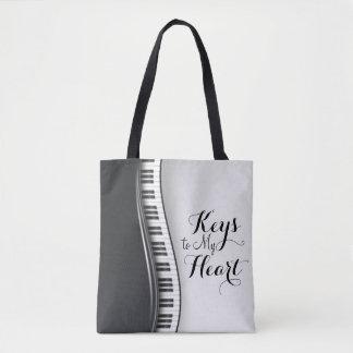 Black White Piano Keys Typography Tote Bag