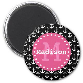 Black White Pink Anchor Pattern Monogram 2 Inch Round Magnet