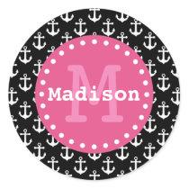 Black White Pink Anchor Pattern Monogram Classic Round Sticker