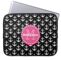 Black White Pink Anchor Pattern Monogram Computer Sleeve