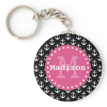 Black White Pink Anchor Pattern Monogram Keychain