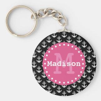 Black White Pink Anchor Pattern Monogram Keychain