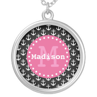 Black White Pink Anchor Pattern Monogram Silver Plated Necklace