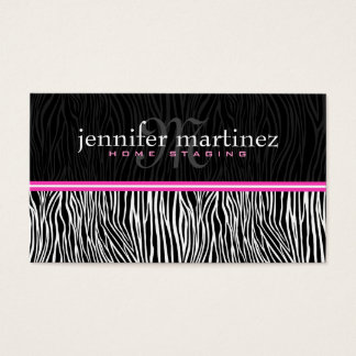 Black White & Pink Animal Print-Zebra Stripes Business Card