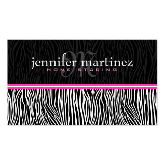 Black White & Pink Animal Print-Zebra Stripes Double-Sided Standard Business Cards (Pack Of 100)