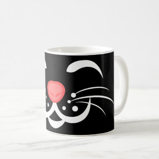 Black White Pink Cat Face - Cat Lovers Christmas Coffee Mug