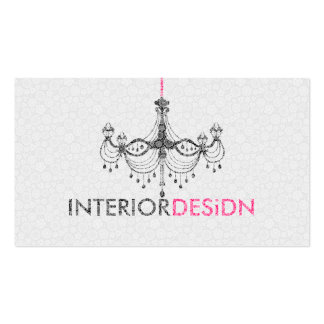 Black White& Pink Chandelier Interior Design Double-Sided Standard Business Cards (Pack Of 100)