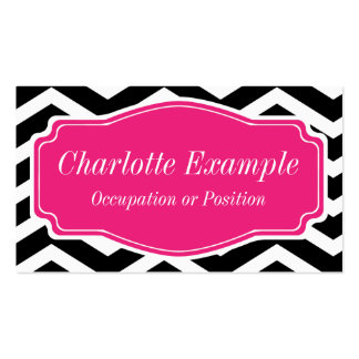 Black White Pink Chevron Personal Double-Sided Standard Business Cards (Pack Of 100)