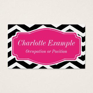Black White Pink Chevron Personal Business Card