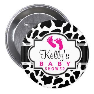 Black, White, & Pink Cowhide Baby Shower 3 Inch Round Button