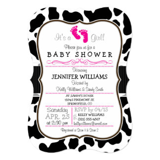 Black, White, & Pink Cowhide Baby Shower 5x7 Paper Invitation Card