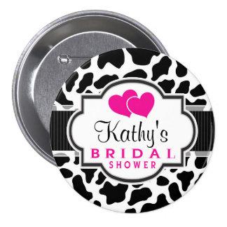 Black, White, & Pink Cowhide Bridal Shower 3 Inch Round Button