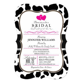 Black, White, & Pink Cowhide Bridal Shower 5x7 Paper Invitation Card