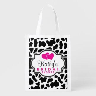 Black, White, & Pink Cowhide Bridal Shower Reusable Grocery Bag