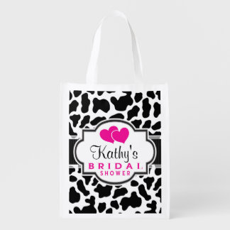 Black, White, & Pink Cowhide Bridal Shower Reusable Grocery Bag