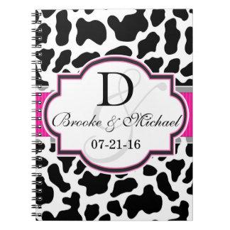 Black, White, & Pink Cowhide Wedding Spiral Notebook