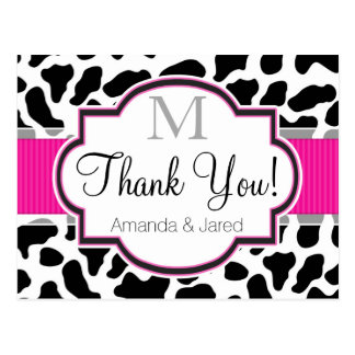 Black, White, & Pink Cowhide Wedding Postcard