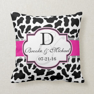 Black, White, & Pink Cowhide Wedding Throw Pillow