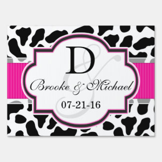 Black, White, & Pink Cowhide Wedding Lawn Signs