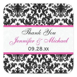 "Black White Pink Damask 1.5"" Wedding Favor Sticker"