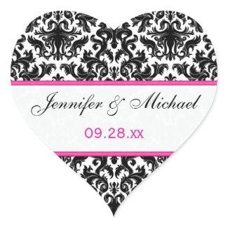 "Black White Pink Damask 1.5"" Wedding Sticker"