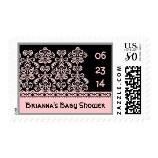 Black White Pink  Damask Baby Shower Stamp