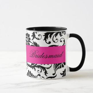 Black, White, Pink Damask Bridesmaid Mug
