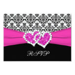 "Black, White, Pink Damask & Hearts Reply Card 3.5"" X 5"" Invitation Card"