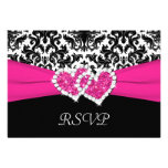 Black, White, Pink Damask & Hearts Reply Card Custom Announcement