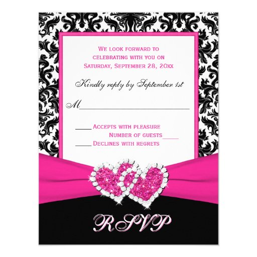 Black, White, Pink Damask & Hearts Reply Card Announcement