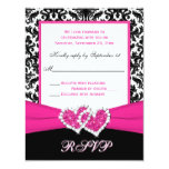 "Black, White, Pink Damask & Hearts Reply Card 4.25"" X 5.5"" Invitation Card"