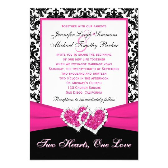 black white pink damask hearts wedding invitation zazzle com