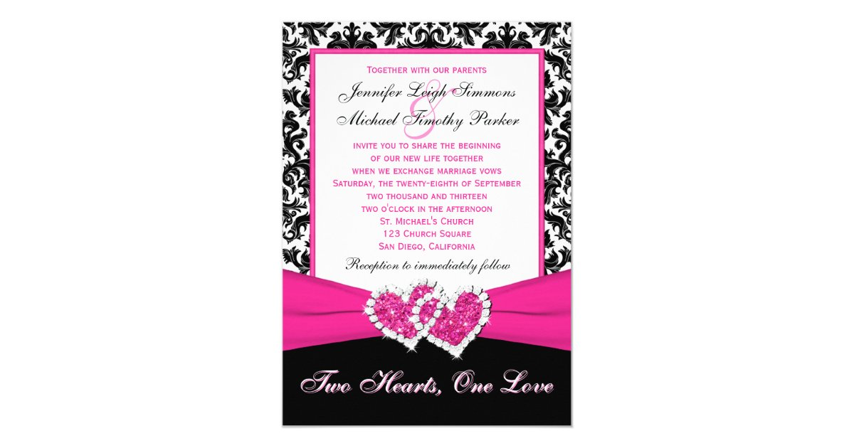 Pink And Black Wedding Invitations: Black White Pink Damask Hearts Wedding Invitation