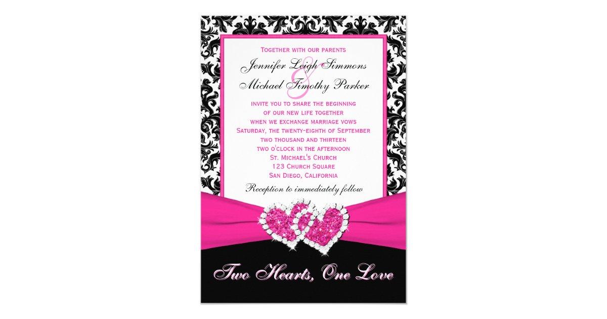 Black Pink Wedding Invitations: Black White Pink Damask Hearts Wedding Invitation