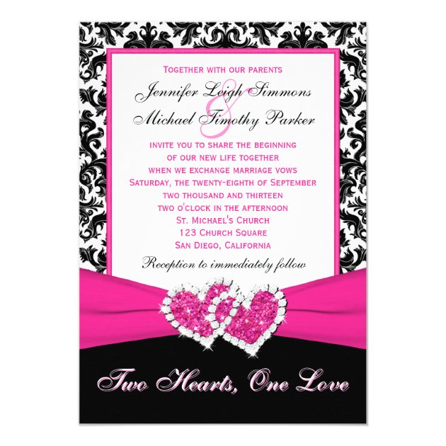 black white pink damask hearts wedding invitation