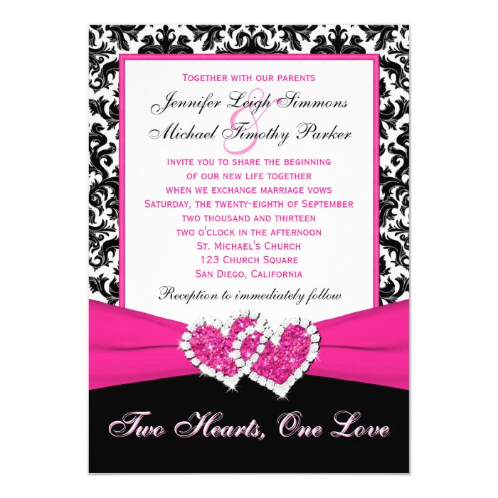 Together With Their Parents Wedding Invitation: Black White Pink Damask Hearts Wedding Invitation