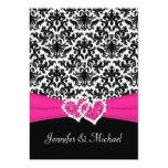 "Black White Pink Damask Hearts Wedding Invitation 5"" X 7"" Invitation Card"