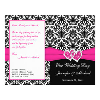Black White Pink Damask Hearts Wedding Program Flyers