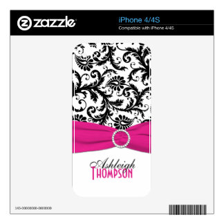 Black White Pink Damask iPhone 4/4s Skin