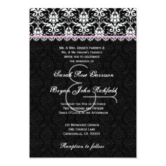 Black White Pink Damask Lace Wedding Recycled Card