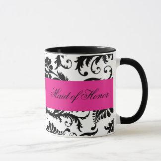 Black, White, Pink Damask Maid of Honor Mug