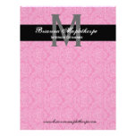 Black White Pink Damask Monogram Letterhead