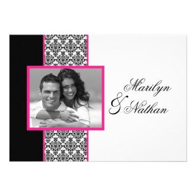 Black White Pink Damask Photo Wedding Invite