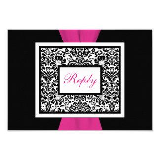 Black, White, Pink Damask PRINTED RIBBON RSVP Card