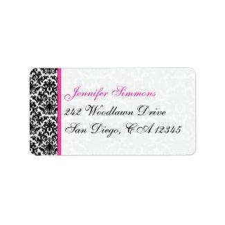 Black White Pink Damask Return Address Label