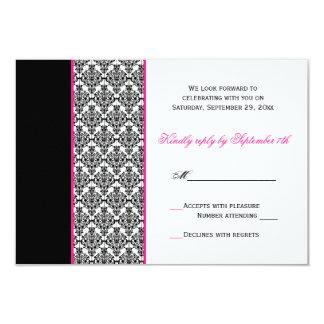 Black White Pink Damask RSVP Card